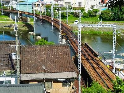 三木城址本丸跡から神戸電鉄粟生線を眺める