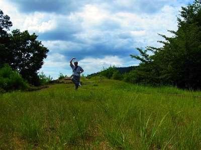 山崎山城 山頂でシェー